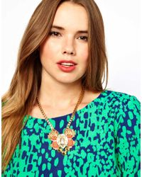 ASOS - Pink Curve Boxchain Collar Necklace with Bug - Lyst