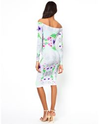 ASOS   Green Bodycon Off Shoulder Dress in Linear Floral   Lyst
