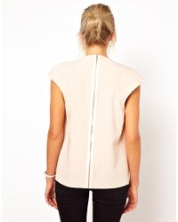 ASOS - Natural Petite Exclusive Top with Plunge Neck and Zip Back - Lyst