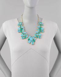 Kate Spade - Blue Crystal Cluster Bib Necklace - Lyst