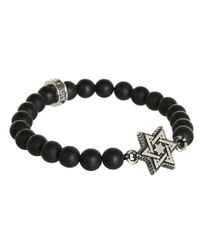 King Baby Studio - Metallic Onyx 8mm Bead Bracelet with Alloy Star Of David in Silver for Men - Lyst