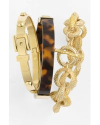 MICHAEL Michael Kors | Brown Gold Tone and Tortoise Hinge Bangle | Lyst