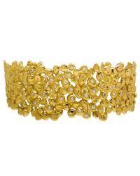 Natasha Collis - Metallic 18K Dripped Gold Cuff With White Diamonds - Lyst