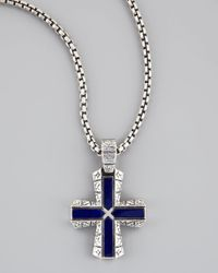 Stephen Webster | Blue Silver Lapis Cross Pendant Necklace for Men | Lyst