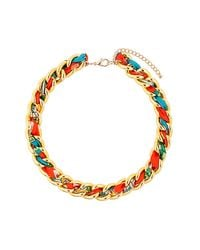 TOPSHOP - Multicolor Woven Fabric Chain Necklace - Lyst