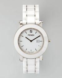 Fendi | White Round Ceramic Diamond Stainless Steel Watch | Lyst