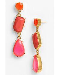 kate spade new york | Red Crystal Fiesta Linear Stone Earrings | Lyst