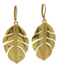 T Tahari - Metallic 14 Kt Goldplated Antique Leaf Drop Earrings - Lyst