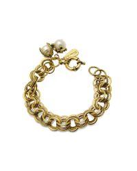 Alcozer & J - Metallic Brass Glass Pearls Bracelet - Lyst