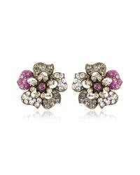 Alcozer & J - Metallic Flower Crystal Clipon Earrings - Lyst