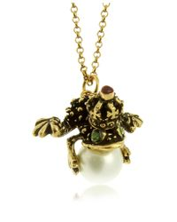 Alcozer & J - Metallic Glass Pearl Brass and Emerald Frog Pendant Necklace - Lyst