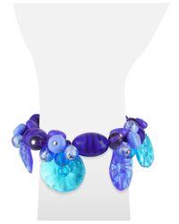 Antica Murrina - Green Encanto Murano Glass Flower Bead Bracelet - Lyst
