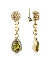 AZ Collection - Metallic Green Clip-on Drop Earrings - Lyst