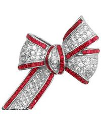 AZ Collection | Metallic Bow Brooch | Lyst