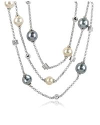 AZ Collection - Gray Glass Pearl Triple Chain Necklace - Lyst