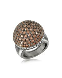 Azhar - Metallic Sterling Silver Cubic Zirconia Semi-sphere Cocktail Ring - Lyst
