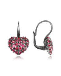 Azhar - Metallic Sterling Silver And Cubic Zirconia Heart Earrings - Lyst