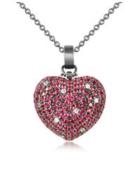 Azhar | Metallic Sterling Silver And Cubic Zirconia Heart Pendant Necklace | Lyst