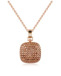 Azhar | Pink Cubic Zirconia And Sterling Silver Square Pendant Necklace | Lyst