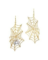 Bernard Delettrez - Metallic Spiderweb Bronze And Silver Earrings - Lyst