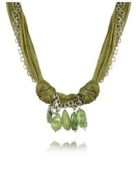 Daco Milano | Green Gemstone Drops Multi-strand Sterling Silver Lace Necklace | Lyst