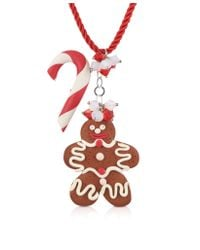 Dolci Gioie | Red Candy Cane & Gingerbread Man Necklace | Lyst