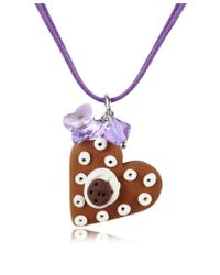 Dolci Gioie | Brown Chocolate Heart Cake Pendant W/lace | Lyst