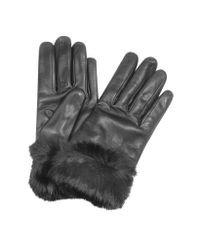 FORZIERI - Black Cashmere Lined Italian Leather Gloves With Fur - Lyst