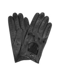 FORZIERI - Women's Black Perforated Italian Leather Driving Gloves - Lyst