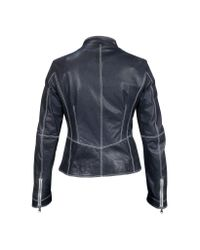 FORZIERI - Blue Motorcycle Leather Jacket - Lyst