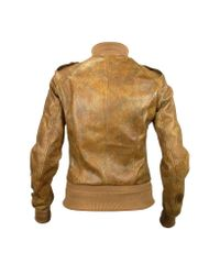 FORZIERI - Women's Brown Paisley Stamped Genuine Leather Jacket - Lyst