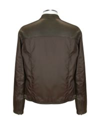 FORZIERI - Dark Brown Nylon And Leather Zip Jacket for Men - Lyst