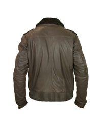 FORZIERI - Men's Dark Brown Shearling Collar Bomber Leather Jacket for Men - Lyst