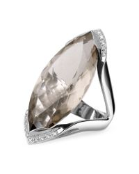 FORZIERI | Smokey Quartz and Diamond White Gold Fashion Ring | Lyst