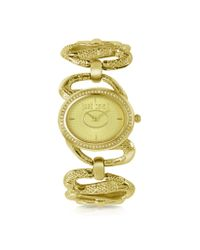 Just Cavalli - Gray Sinuous - Goldtone Bracelet Watch - Lyst