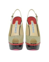 Luciano Padovan - Natural Color Block Patent Leather Platform Sandal - Lyst