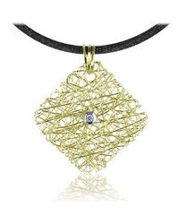 Orlando Orlandini | Central Diamond 18k Yellow Gold Pendant W/lace | Lyst