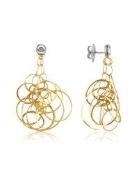 Orlando Orlandini - Metallic Scintille - Diamond 18k Gold Drop Earrings - Lyst