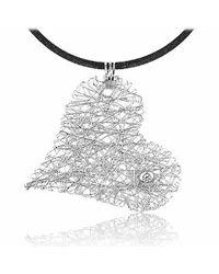 Orlando Orlandini | Diamond 18k White Gold Heart Pendant W/lace | Lyst