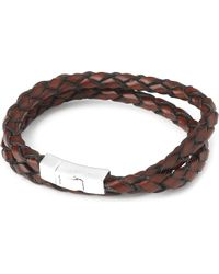 Tateossian | Double-wrap Scoubidou Leather Bracelet With Silver Clasp, Men's, Size: L, Brown | Lyst