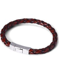 Tateossian | Scoubidou Leather Bracelet With Silver Clasp, Men's, Size: L, Brown | Lyst