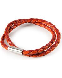 Tateossian | Brown Silver Pop Scoubidou Leather Bracelet - For Men | Lyst