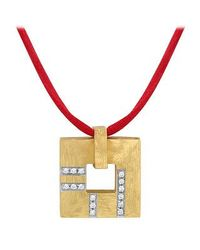 Torrini - Metallic Amore - Gold And Diamonds Open Square Pendant - Lyst