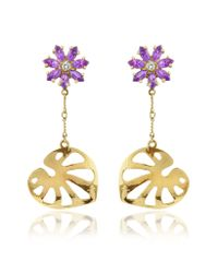 Torrini | Metallic Pothos Amethyst and Diamond Flower Drop 18k Gold Earrings | Lyst