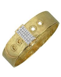 Torrini | Zero - 18k Yellow Gold And Diamond Pave Cuff Bracelet | Lyst