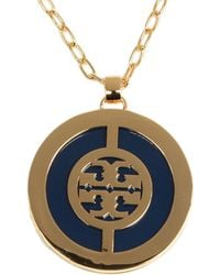 Tory Burch - Metallic Deco Logo Pendant Necklace - Lyst