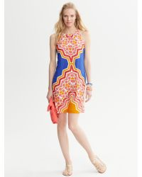 22accb455a Lyst - Banana Republic Printed Halter Dress in Orange