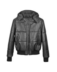 FORZIERI | Black Leather Hooded Quilted Puffed Jacket for Men | Lyst