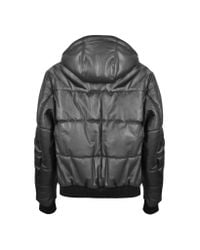 FORZIERI   Black Leather Hooded Quilted Puffed Jacket for Men   Lyst