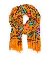 Mango | Orange Ethnic Print Cotton Foulard | Lyst